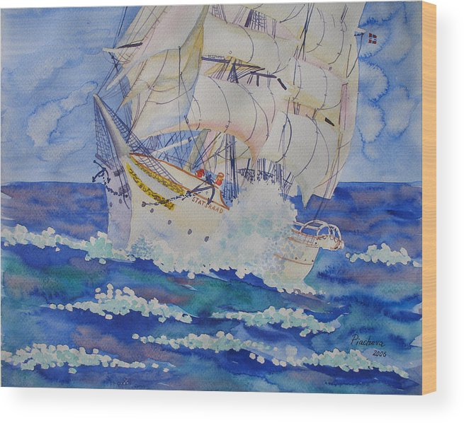 Seascape Wood Print featuring the painting Great Sails.2006 by Natalia Piacheva