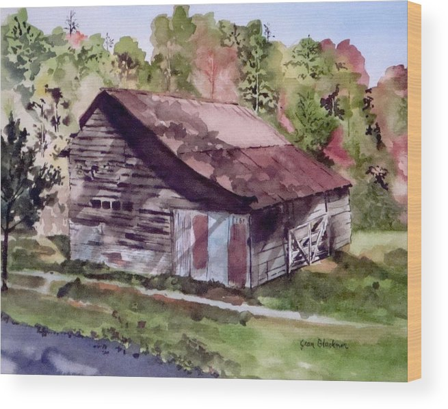Barns Wood Print featuring the painting Green Creek Barn by Jean Blackmer