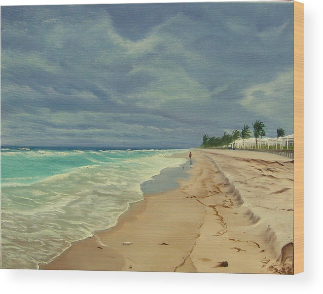 Beach Wood Print featuring the painting Grey Day On The Beach by Lea Novak