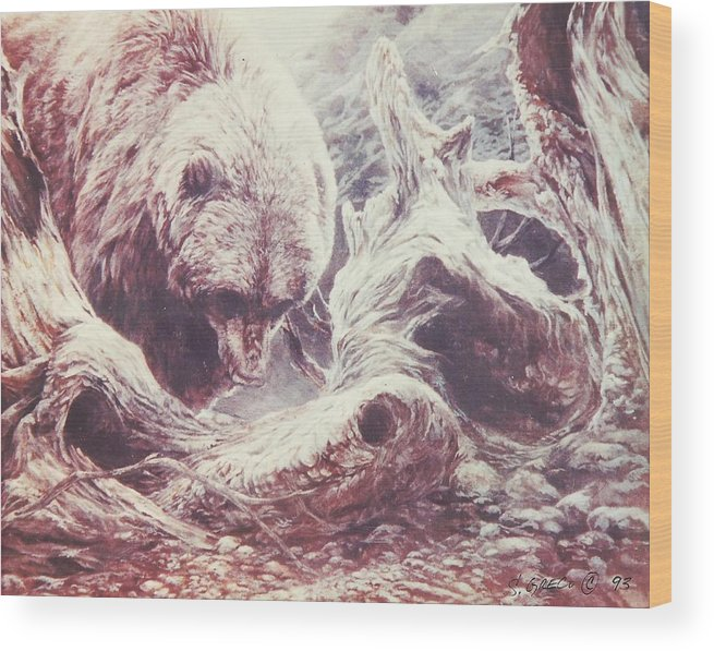Bear Wood Print featuring the painting Grizzly Bear by Steve Greco