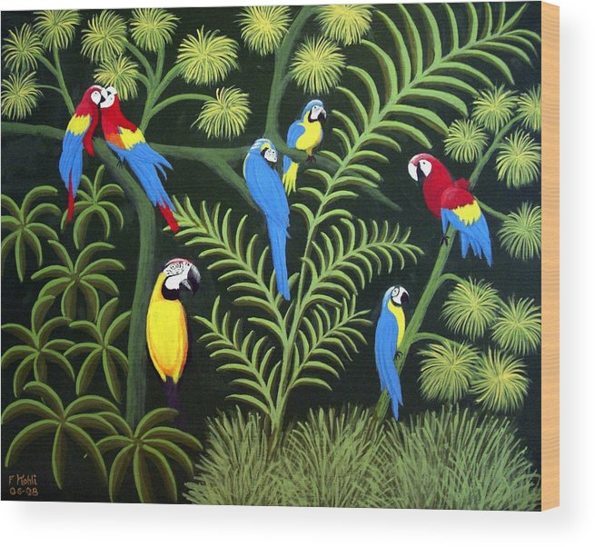 Landscape Paintings Wood Print featuring the painting Group Of Macaws by Frederic Kohli