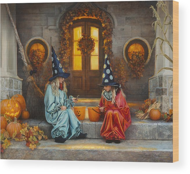 Halloween Wood Print featuring the painting Halloween Sweetness by Greg Olsen