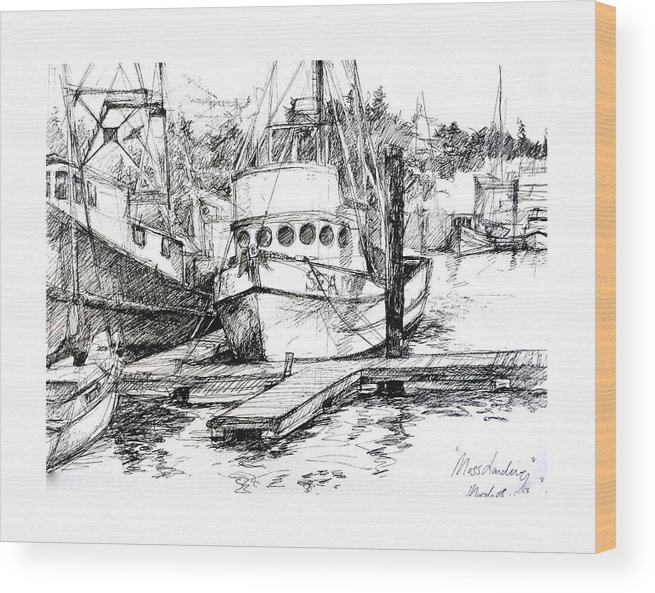 Seascape Wood Print featuring the painting Harbour Boats by Sarah Madsen
