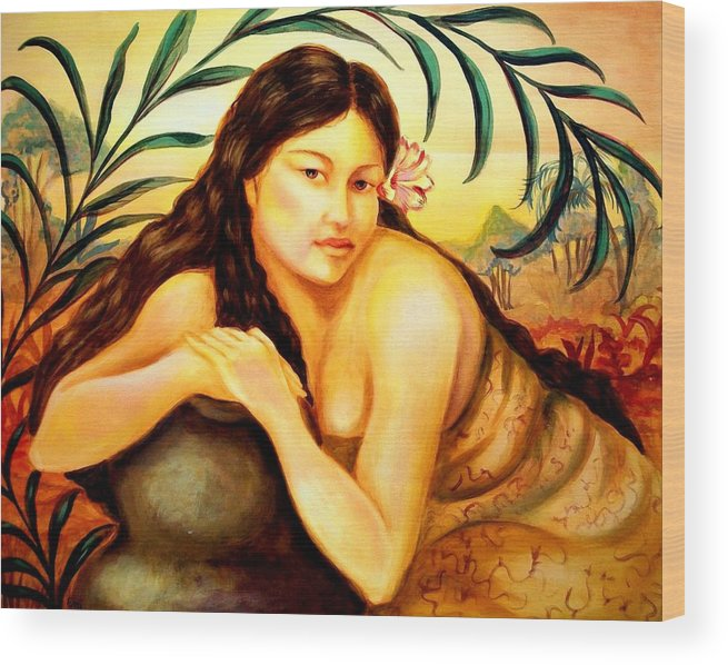 Impressionistic Wood Print featuring the painting Hawaiian Girl by Em Scott