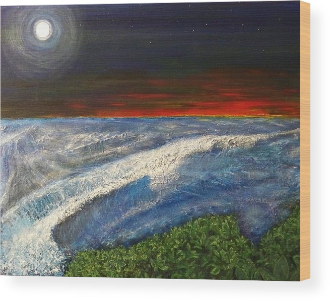 Beaches Wood Print featuring the painting Hawiian View by Michael Cuozzo