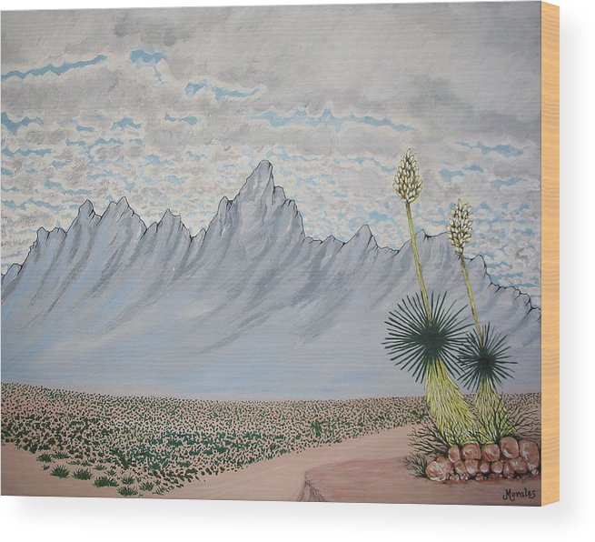 Desertscape Wood Print featuring the painting Hazy Desert Day by Marco Morales