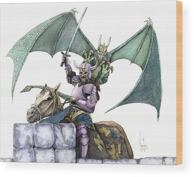 Knights Demons Dragons Wizards Magic Pagan Festival Wood Print featuring the mixed media Hector by Preston Shupp