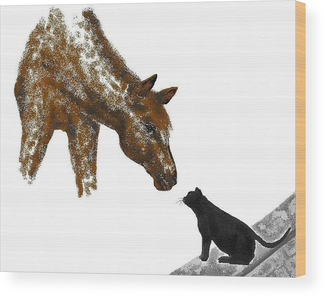 Horses Wood Print featuring the digital art Hello Down There by Carole Boyd