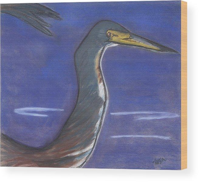 Heron Wood Print featuring the painting Heron by Stu Hanson