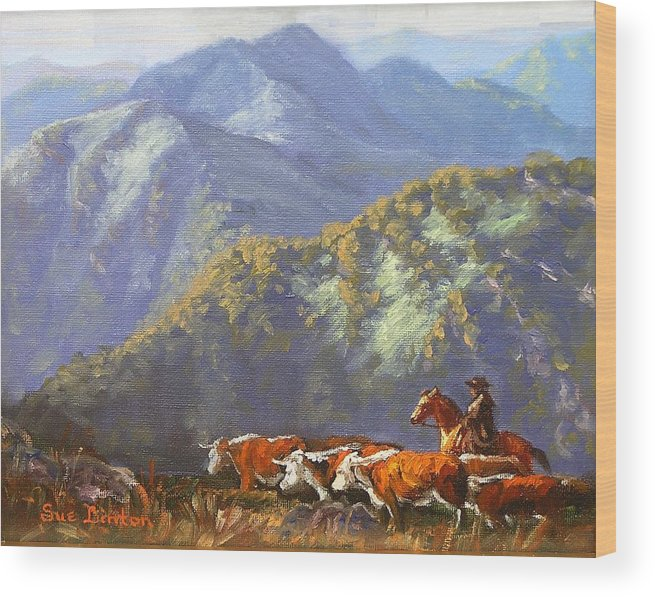 Cattle Wood Print featuring the painting High Country Muster by Sue Linton