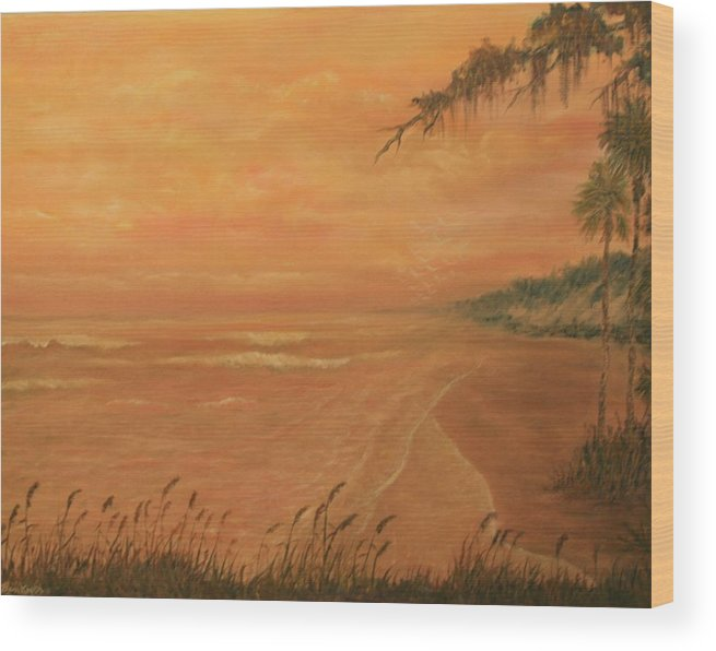 Beach; Ocean; Palm Trees; Water Wood Print featuring the painting High Tide by Ben Kiger