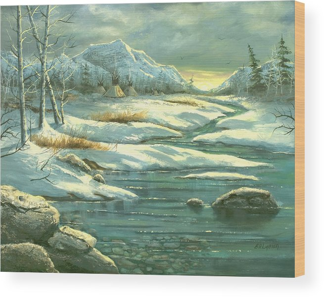 Landscape Wood Print featuring the painting High Winter Camp by Brooke Lyman