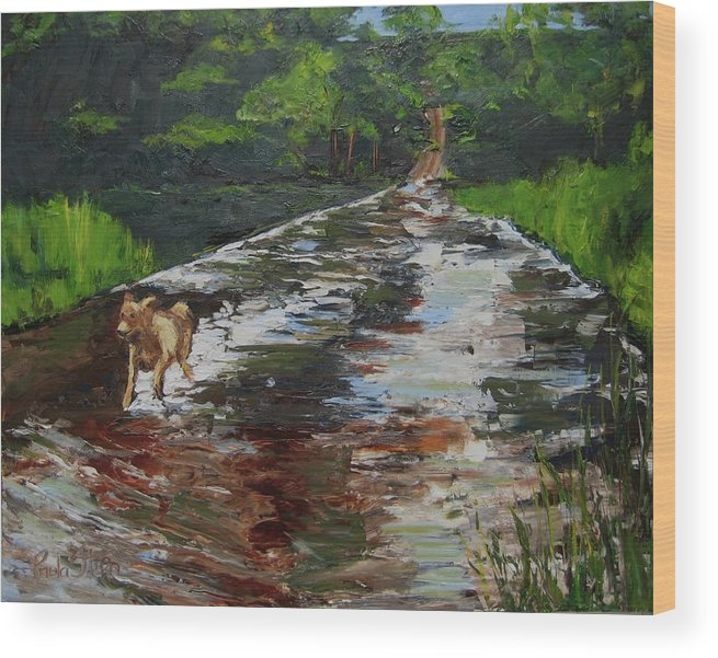 Landscape Wood Print featuring the painting Hiking With Parker One by Paula Stern