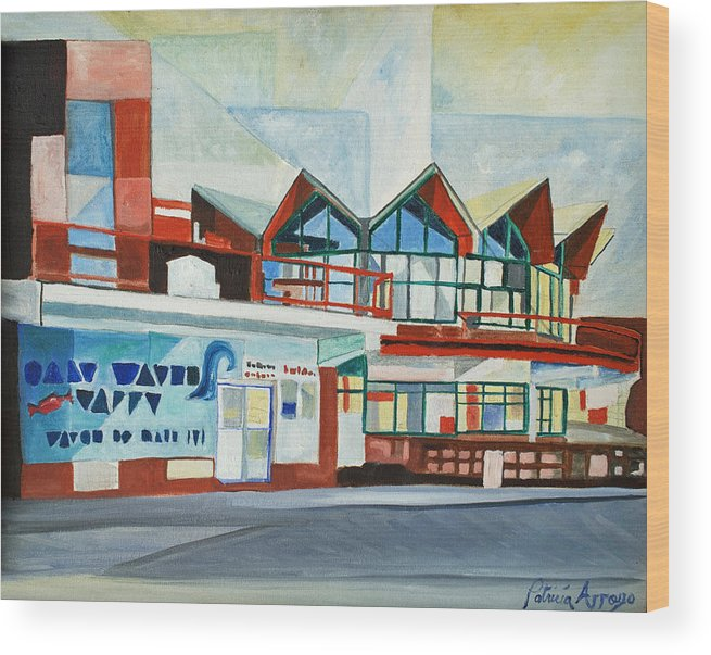 Asbury Art Wood Print featuring the painting Hojo's Abstracted by Patricia Arroyo