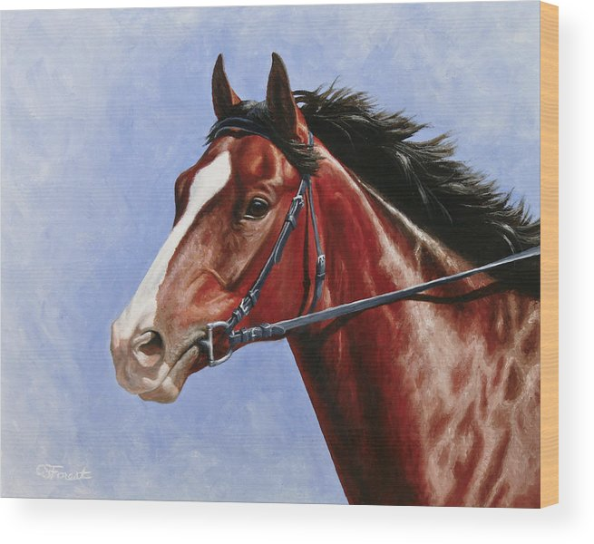 Horse Wood Print featuring the painting Horse Painting - Determination by Crista Forest