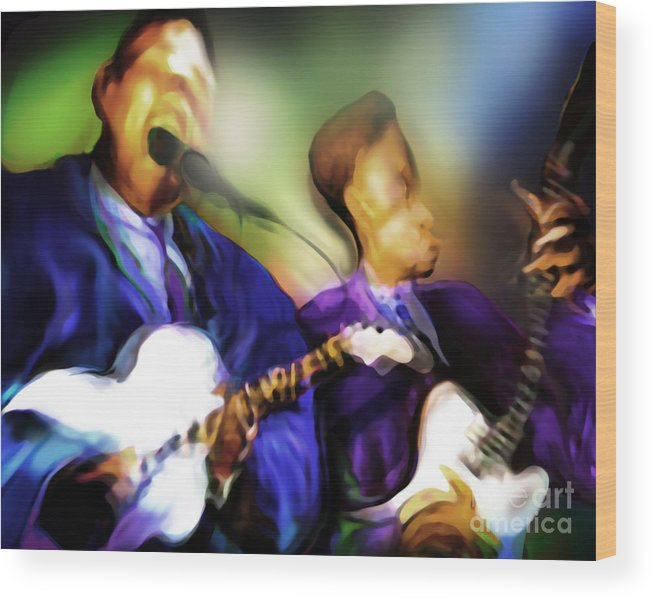 Jazz Art Wood Print featuring the painting Howl'n by Mike Massengale