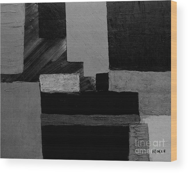 Painting Wood Print featuring the digital art Hues Of Gray Abstract by Marsha Heiken