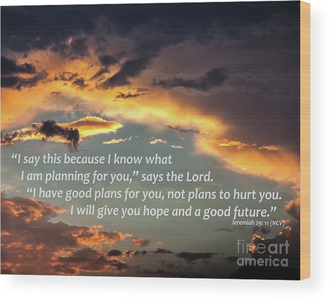 Sky Wood Print featuring the digital art I Will Give You Hope by Kirt Tisdale