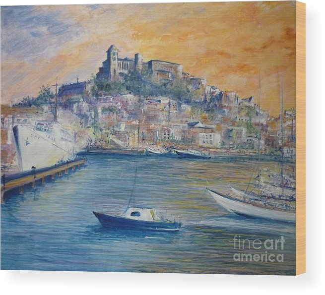 Marina Wood Print featuring the painting Ibiza Old Town Marina And Port by Lizzy Forrester