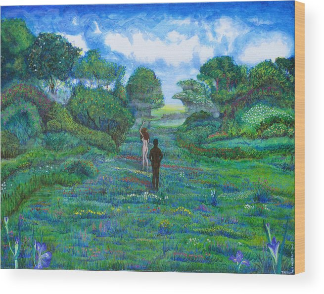 Landscape Wood Print featuring the painting Iris And Vern by Tom Hefko