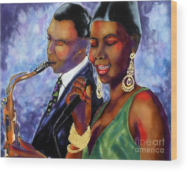 Silk Wood Print featuring the painting Jazz Duet by Linda Marcille