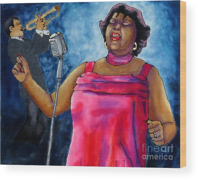 Jazz Wood Print featuring the painting Jazzy Lady by Linda Marcille