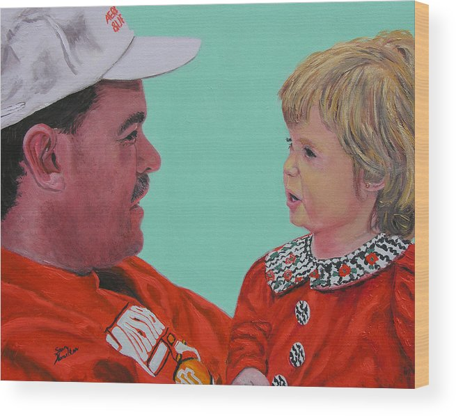 Portrait Wood Print featuring the painting John And Megan by Stan Hamilton