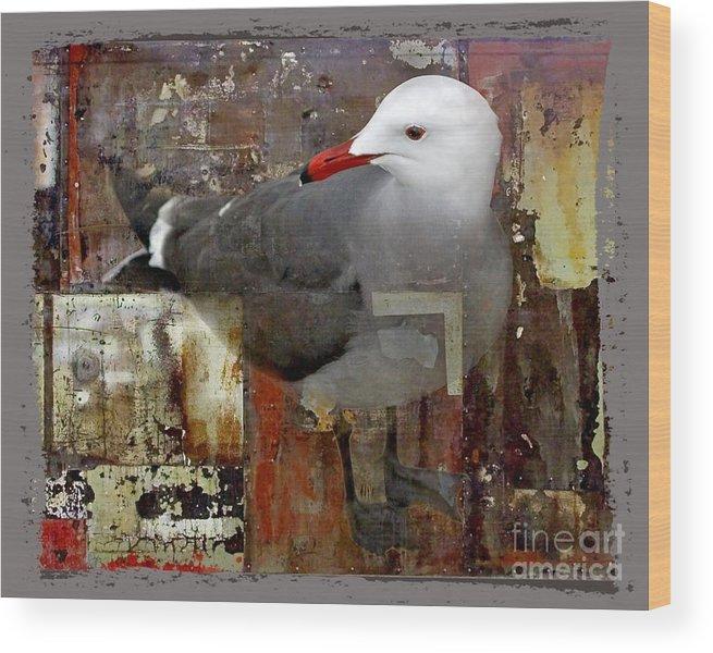 Bird Wood Print featuring the digital art Junkyard Gull by Chuck Brittenham