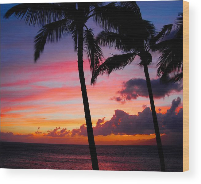 Kaanapali Sunset Wood Print featuring the photograph Kaanapali Sunset Kaanapali Maui Hawaii by Michael Bessler
