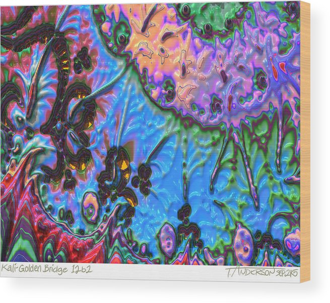 Fractal Image Wood Print featuring the digital art kaleido fa-GoldenBridge12b2 by Terry Anderson