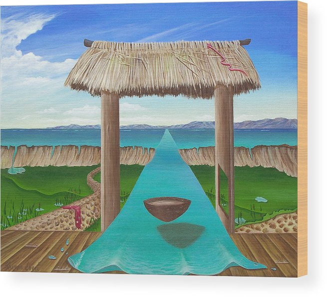 Surreal Painting Wood Print featuring the painting Kava Flow by Sharon Ebert