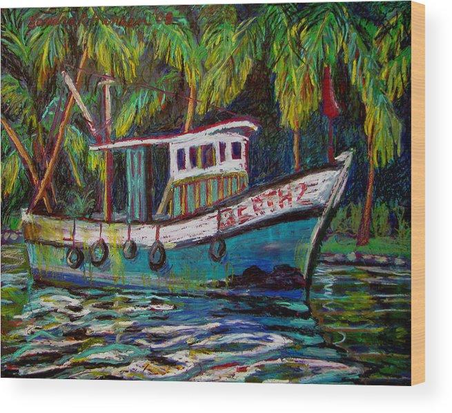 Kerala Wood Print featuring the painting Kerala Fishing Boat by Art Nomad Sandra Hansen