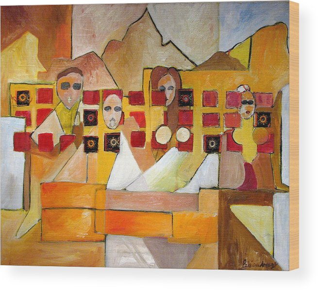 Abstract Wood Print featuring the painting Kids In Venice by Patricia Arroyo