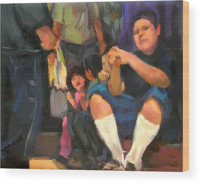 Figurative Wood Print featuring the painting Kids On The Street by Merle Keller