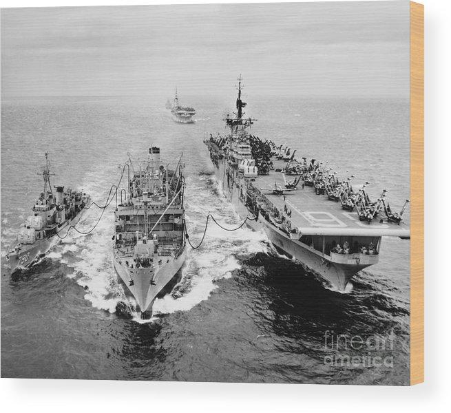 1953 Wood Print featuring the photograph Korean War: Ship Refueling by Granger