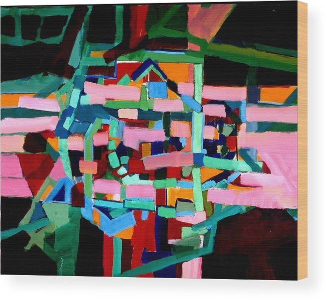 Abstract Wood Print featuring the painting L A Landscape by Paul Freidin