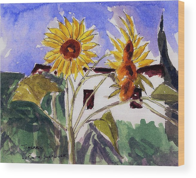 Watercolors Wood Print featuring the painting La Romita Sunflowers by Tom Herrin