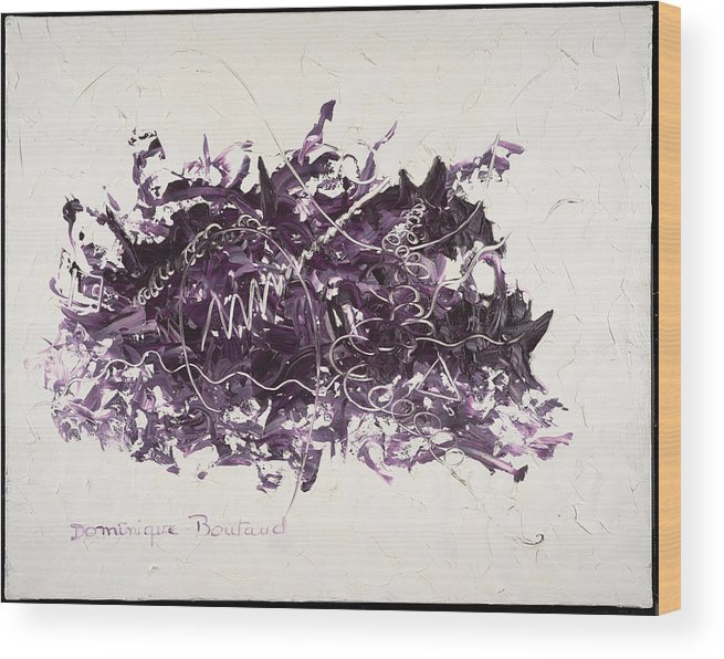 Abstract Wood Print featuring the painting La Solitude by Dominique Boutaud