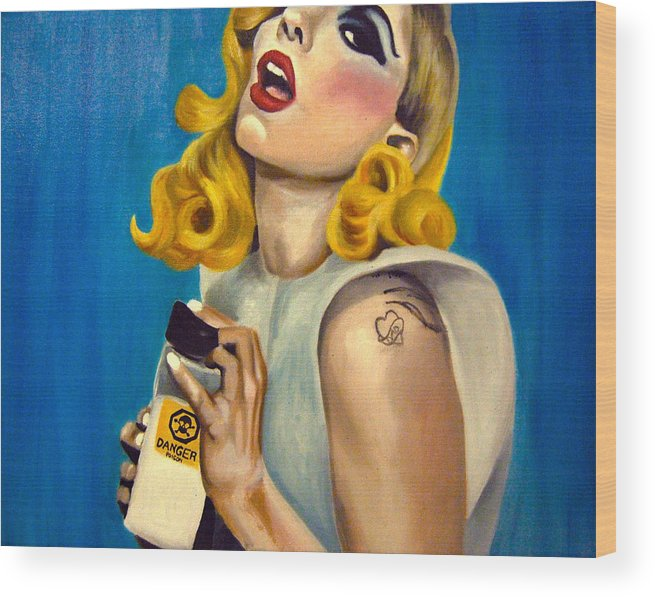 Fan Art Wood Print featuring the painting Lady Gaga Commission by Emily Jones