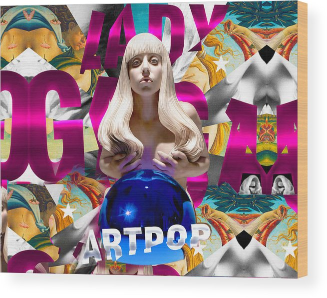 Lady Gaga Wood Print featuring the painting Lady Gaga Graphic Art by Sport Fun Shop