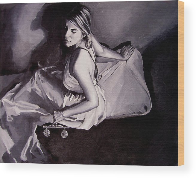 Law Art Wood Print featuring the painting Lady Justice Black And White by Laura Pierre-Louis