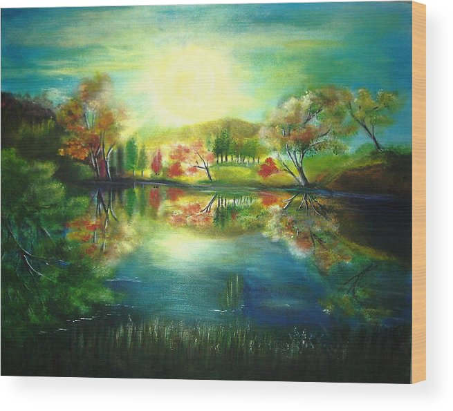 Landscape Wood Print featuring the painting Lake At Dawn by Vivian Mosley