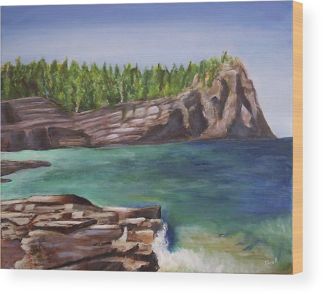 Seascape Wood Print featuring the painting Lake Huron by Silvia Philippsohn