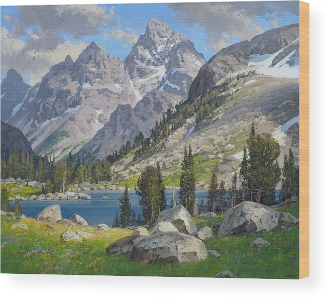 Landscape Wood Print featuring the painting Lake Solitude by Lanny Grant