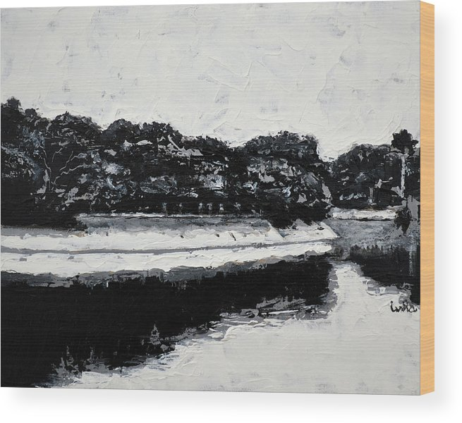 Lal Bagh Lake Wood Print featuring the painting Lal Bagh Lake 4 by Usha Shantharam