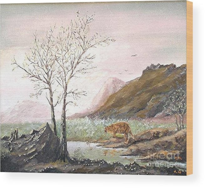 Landscape With Mountain Lion Wood Print featuring the painting Landscape With Mountain Lion by Nicholas Minniti