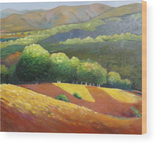 Ca Hills Wood Print featuring the painting Last Kiss Of Sunshine by Gary Coleman