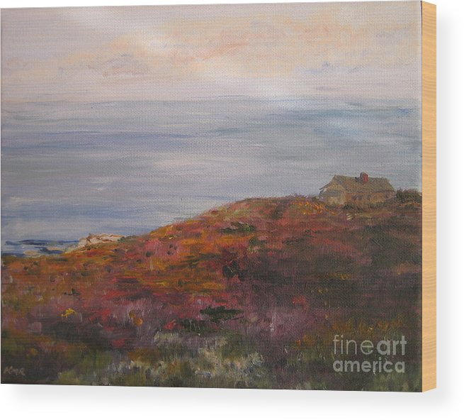 Landscape Wood Print featuring the painting Late Afternoon On Rockport Seaside In Autumn by Kayla Race