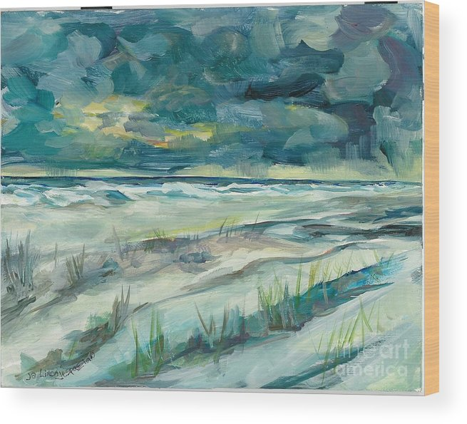 Beach Wood Print featuring the painting Late Evening Storm In Destin by Linda Vespasian