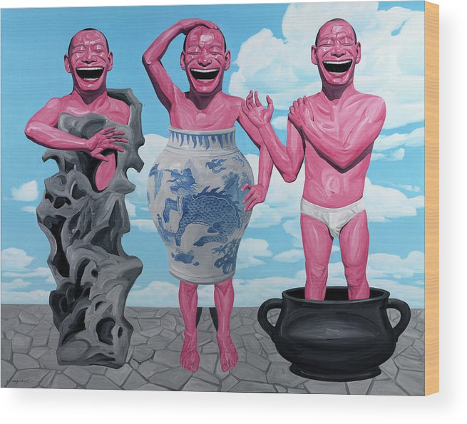 Laugh Heartily Wood Print featuring the painting Laugh Heartily by Yue Minjun